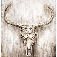 "BOVINE HAND PAINTED WALL ART 32""x32"""