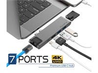 "PureFix USB C Hub, 7-in-1 Dual Type-C Adapter for MacBook Pro 13"" 15"" Gigabit Ethernet, Power Delivery, Thunderbolt 3, 4K HDMI, MicroSD/SD Card Reader (Space Grey)"