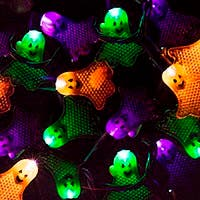 Monoprice 10 Count Flat Ghost Halloween String Light Multicolor 11.5 ft (Open Box)