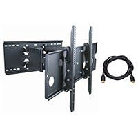 Monoprice Titan Series Full Motion Wall Mount for Large 32- 60 inch TVs 175lbs Black w/ 10ft High Speed HDMI Cable (Open Box)