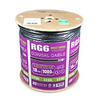 Syston 1000ft Dual Shield Outdoor RG-6/U 3.0GHz (18AWG) Broadband CATV Bulk Coax Direct Burial Cable Spool, Black