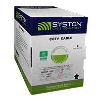 Syston 500ft Solid Bare Copper RG-59/U w/2x18AWG Siamese 3 GHz CCTV CL2R/CMR Bulk Coax Cable, White