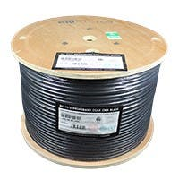 Syston 1000ft RG-11/U 3.0 GHz (14AWG) Broadband CATVR/CL2R/CMR Bulk Coax Cable Spool, Black