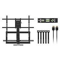 Monoprice Above Fireplace Pull-Down Full-Motion Articulating TV Wall Mount w/ Optional Soundbar Mount- For TVs 55in to 80in, Max Weight 132lbs, VESA Patterns Up to 800x500, Rotating, Height Adjustable