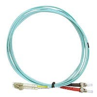Monoprice OM4 Fiber Optic Cable - LC/ST, 50/125 Type, Multi-Mode, Duplex, 10GB, Aqua, 1m