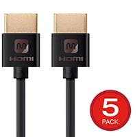 5-Pack Monoprice 4K 18Gbps Slim High Speed HDMI 6ft Cable