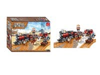"Toys ""The Dispute in the West Train Scene"" Building Blocks Set - 833 pcs"