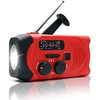 Weather Radio Emergency Solar Hand Crank AM/FM Radio w/ LED Flashlight SOS Alarm,2000mAh Power Bank Red