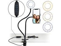 "Selfie Ring Light with 24"" Gooseneck Stand & Cell Phone Holder, clip on for Live-Streaming Phone Mount and Light Kit"
