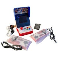 "retro game console for kids 3.5"" full view TFT screen with TV output for dual play build in games for fun travel"