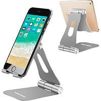 Cell Phone Stand, Fully Foldable, Adjustable Desktop Phone Holder Cradle Dock Compatible with Phone 11 Pro Xs Xs Max Silver