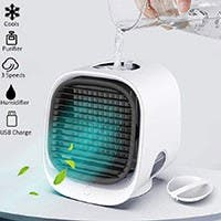 Portable USB Table Fans, Desk Air Cooler, Mini Cooler with 3 speeds, Cooler Humidifier & Purifier for Room, Office, Dorm