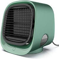 Portable USB Table Fans, Desk Air Cooler, Mini Cooler with 3 speeds, Cooler Humidifier in Green