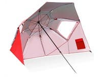 Vented SPF 50+ Sun and Rain Canopy Umbrella for Beach and Sports Outdoor Events (8-Foot) RED