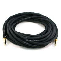 Monoprice 100ft Premier Series 1/4in TRS Male to Male Cable, 16AWG (Gold Plated)