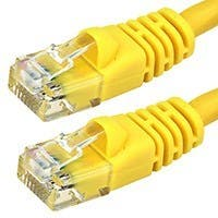 Monoprice Cat5e Ethernet Patch Cable - Snagless RJ45, Stranded, 350Mhz, UTP, Pure Bare Copper Wire, 24AWG, 30ft, Yellow