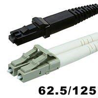 Fiber Optic Cable - MTRJ Female to LC, OM1, 62.5/125 Type, Multi Mode, Duplex, Orange, 3m