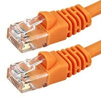 Monoprice Cat5e Ethernet Patch Cable - Snagless RJ45, Stranded, 350Mhz, UTP, Pure Bare Copper Wire, Crossover, 24AWG, 14ft, Orange