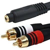 Monoprice 6in Premium 3.5mm Stereo Female to 2x RCA Male Cable, 22AWG Gold Plated, Black