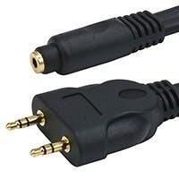 Monoprice 6in Premium 3.5mm Stereo Female to 2x 3.5mm Stereo Male Cable, Gold Plated, Black