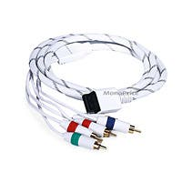 Monoprice 6FT Audio Video ED Component Cable for Wii & Wii U - White (Net Jacket)