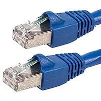 Monoprice Cat6A Ethernet Patch Cable - Snagless RJ45, Stranded, 550Mhz, STP, Pure Bare Copper Wire, 26AWG, 1ft, Blue