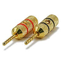 Monoprice 1 PAIR OF High-Quality Gold Plated Speaker Pin Plugs, Pin Crimp Type