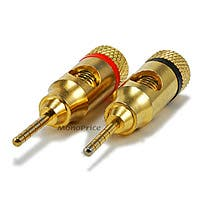 Monoprice 1 PAIR OF High-Quality Gold Plated Speaker Pin Plugs, Pin Screw Type