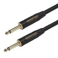 Monoprice 1.5ft. Cloth Series 1/4 inch T/S Male 20AWG Instrument Cable - Black & Gold