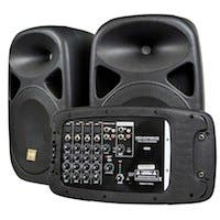 Stage Right by Monoprice 130-Watt 8-channel PA System with Two 10-inch Speakers