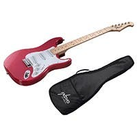 Monoprice Indio Cali Classic Electric Guitar with Gig Bag, Wine Red