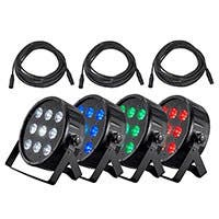 Stage Right by Monoprice 9x10W LED RGBW Flat PAR Stage Light 4-Pack w/ Cables