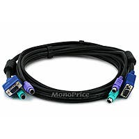 Monoprice Molded 3-In-1 KVM Cables, SVGA PS/2 M/M (Black) - 6FT