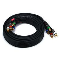 Monoprice 10ft 18AWG CL2 Premium 5-RCA Component Video/Audio Coaxial Cable (RG-6/U) - Black