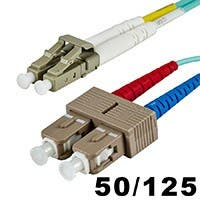 Monoprice Fiber Optic Cable - LC to SC, OM3, 50/125 Type, Multi Mode, 10Gb, Duplex, Aqua, 2m, Corning