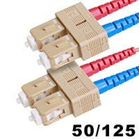 Monoprice Fiber Optic Cable - SC to SC, OM3, 50/125 Type, Multi Mode, 10Gb, Duplex, Aqua, 2m, Corning