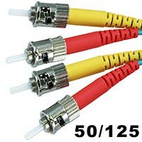 Monoprice Fiber Optic Cable - ST to ST, OM3, 50/125 Type, Multi Mode, 10Gb, Duplex, Aqua, 3m, Corning