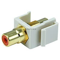 Monoprice Keystone Jack - Modular RCA w/Orange Center (Ivory)