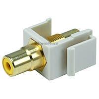 Monoprice Keystone Jack - Modular RCA w/Yellow Center (Ivory)