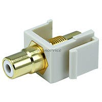 Monoprice Keystone Jack - Modular RCA w/White Center (Ivory)