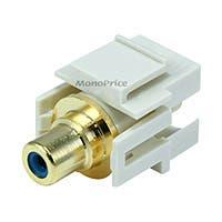 Monoprice Keystone Jack - Modular RCA w/Blue Center, Flush Type (Ivory)