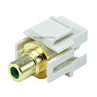Monoprice Keystone Jack - Modular RCA w/Green Center, Flush Type (Ivory)