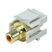 Monoprice Keystone Jack - Modular RCA w/Orange Center, Flush Type (Ivory)