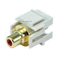 Monoprice Keystone Jack - Modular RCA w/Red Center, Flush Type (Ivory)