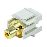 Monoprice Keystone Jack - Modular RCA w/Yellow Center, Flush Type (Ivory)