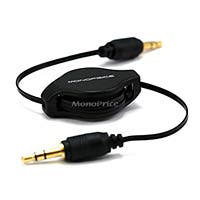 Monoprice 2.5ft Retractable 3.5mm Audio Cable - Black