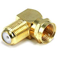 Monoprice F Type Right Angle Female to Male Adapter - Gold Plated