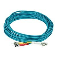 Fiber Optic Cable - LC to ST, OM3, 62.5/125 Type, Multi Mode, Duplex, Aqua, 20m