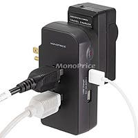 Monoprice 3 Outlet Power Surge Protector Wall Tap w/ 2 Built-In USB Charger - 1050 Joules - Plastic