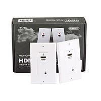 Monoprice HDMI Over Cat5e / Cat6 Extender Wall Plate (Pair) with Built-In Backward IR Channel, Single Port (1P), White